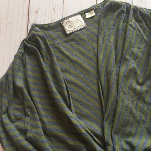 ANTHROPOLOGIE Postmark Olive & Gray Striped Top XS
